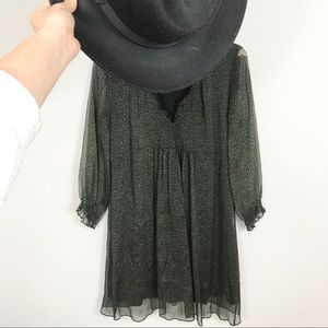 EUC Zara Green Polka Dot Long Sleeve Chiffon Dress
